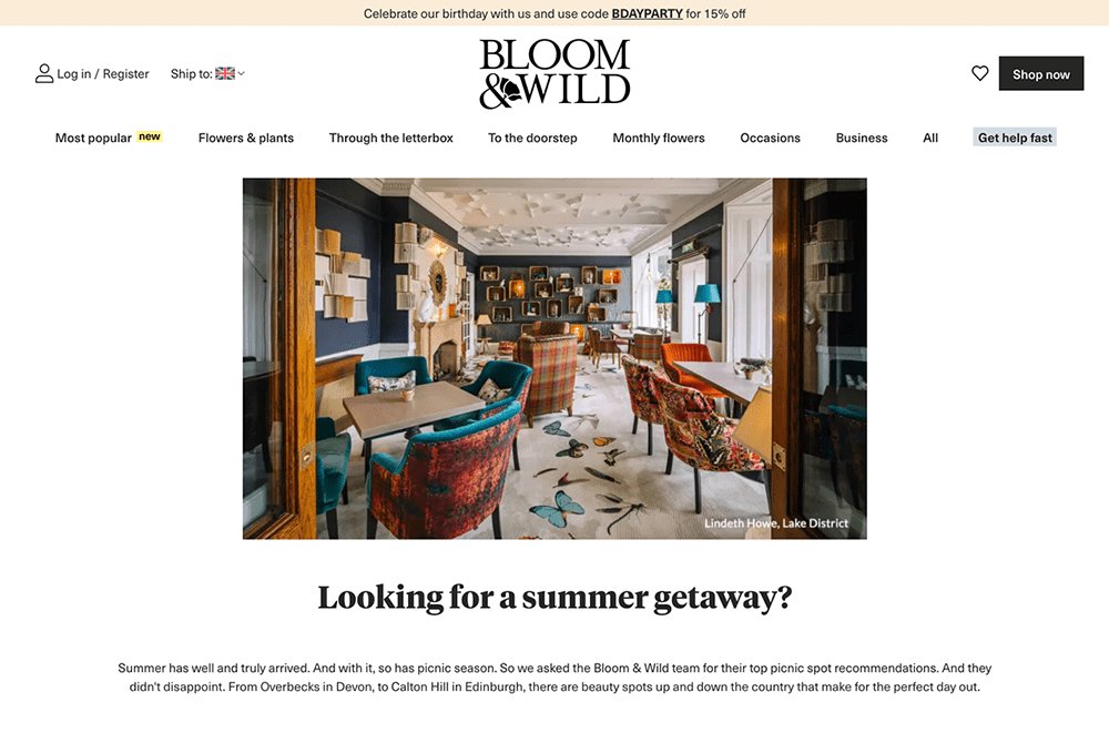 Contest Landing Page Examples: Bloom & Wild