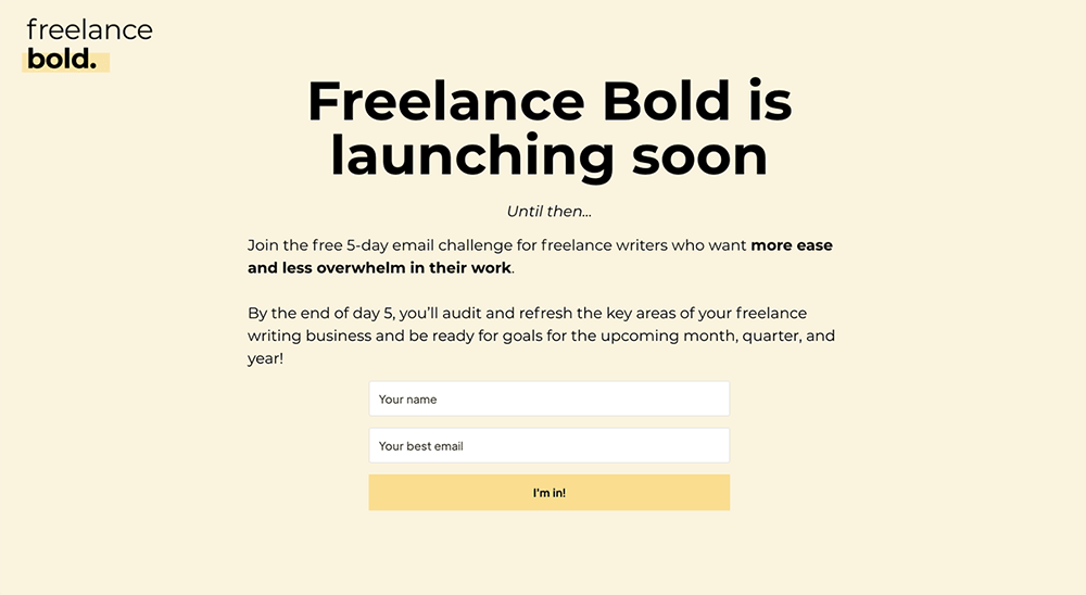 Coming Soon Landing Page Examples: Freelance Bold