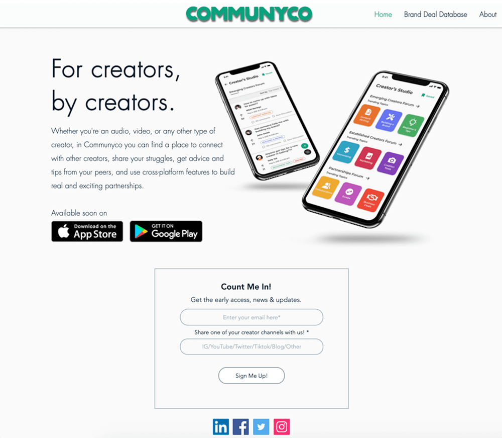 Coming Soon Landing Page Examples: Communyco