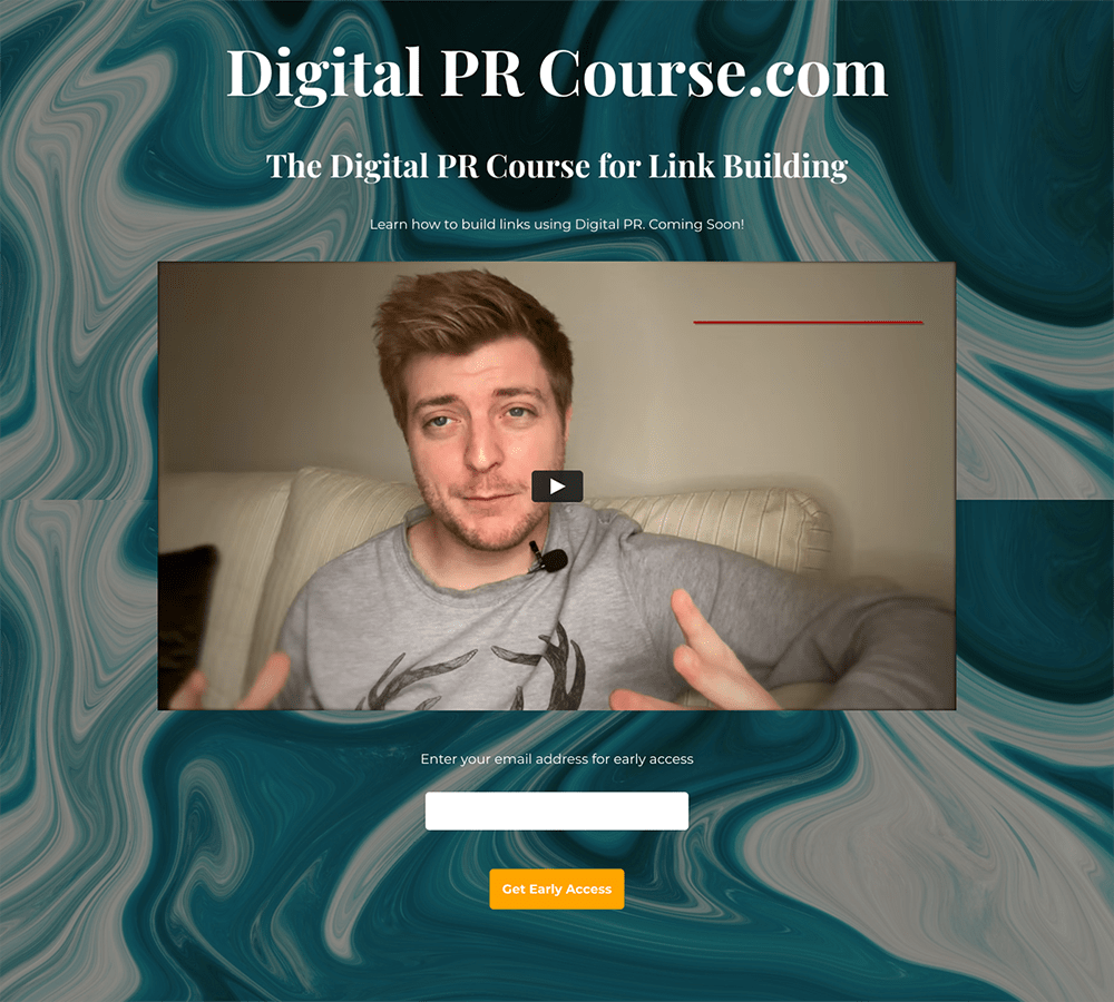 Coming Soon Landing Page Examples: Digital PR Course