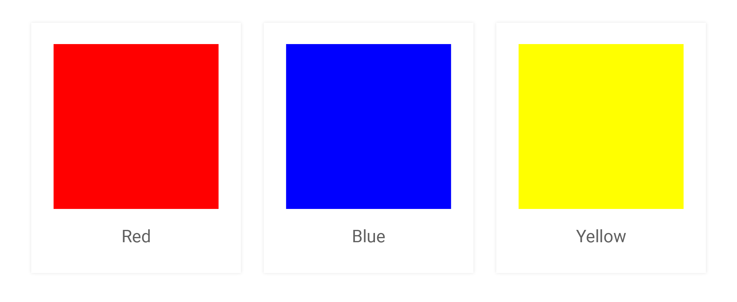 Red, Blue and Yellow color swatches