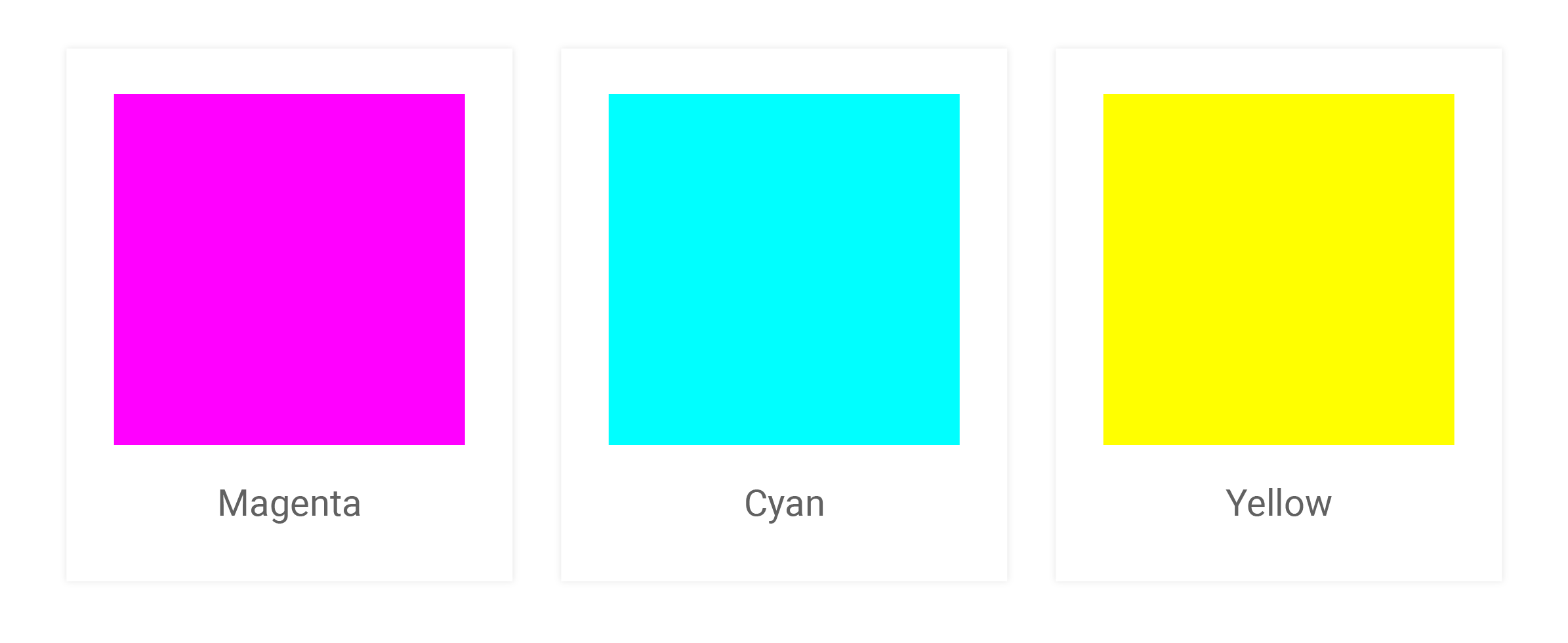 Magenta, Cyan and Yellow color swatches