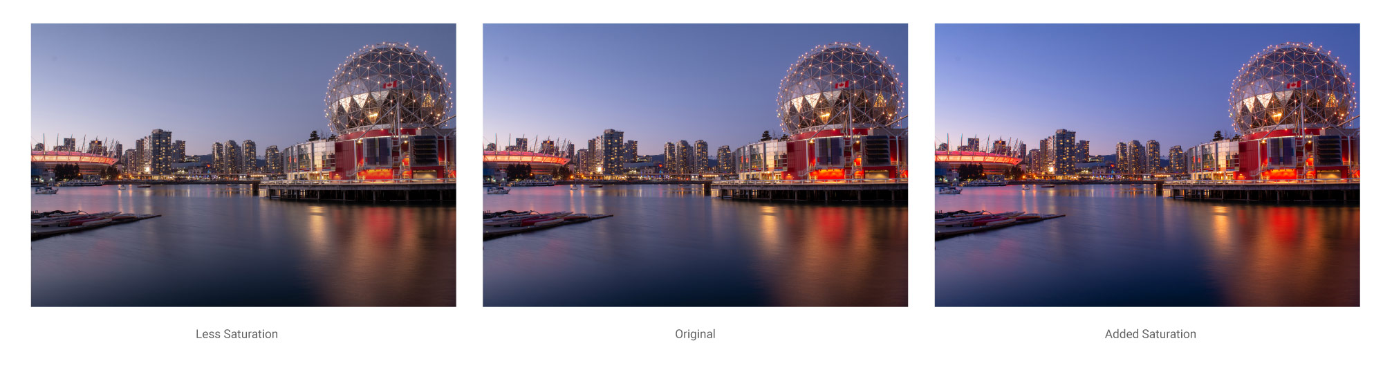 Different levels of saturation to a photograph of Science World, Vancouver BC