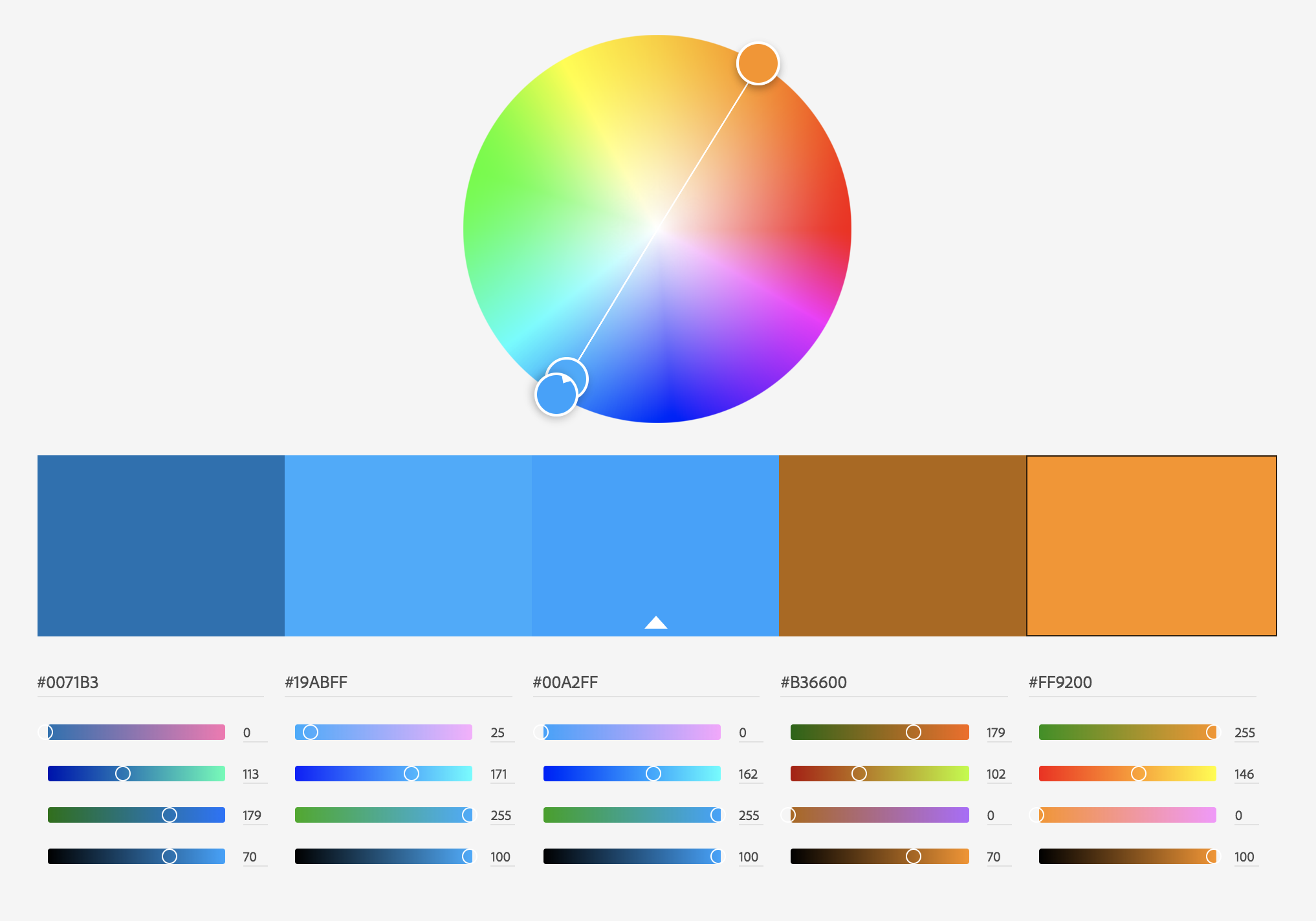 Complentary color palette