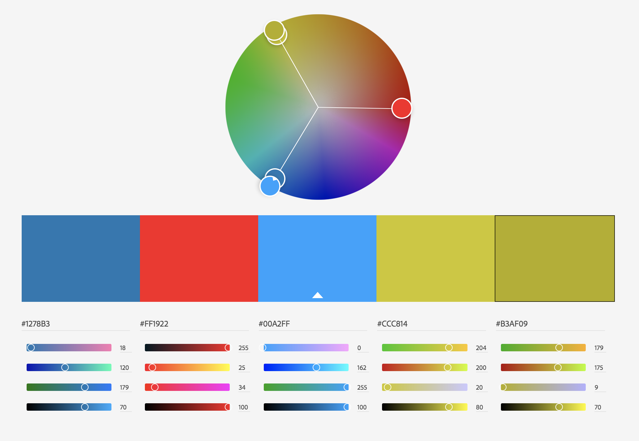 Triadic color palette from Adobe Color