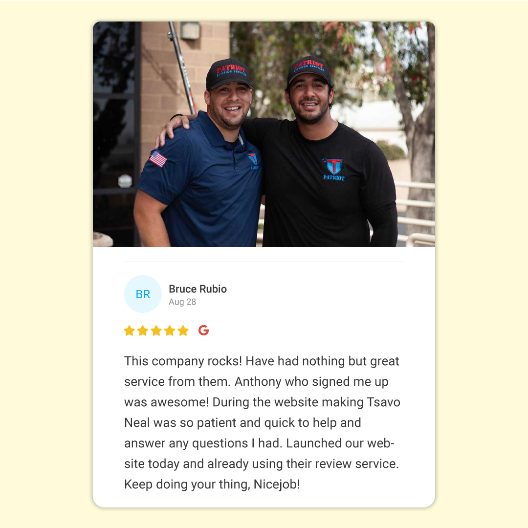 NiceJob review left by Patriot Services