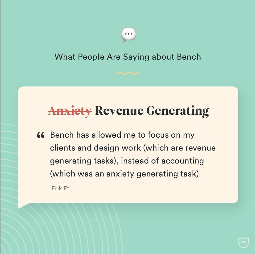 Review example from Bench Accounting posted to Instagram