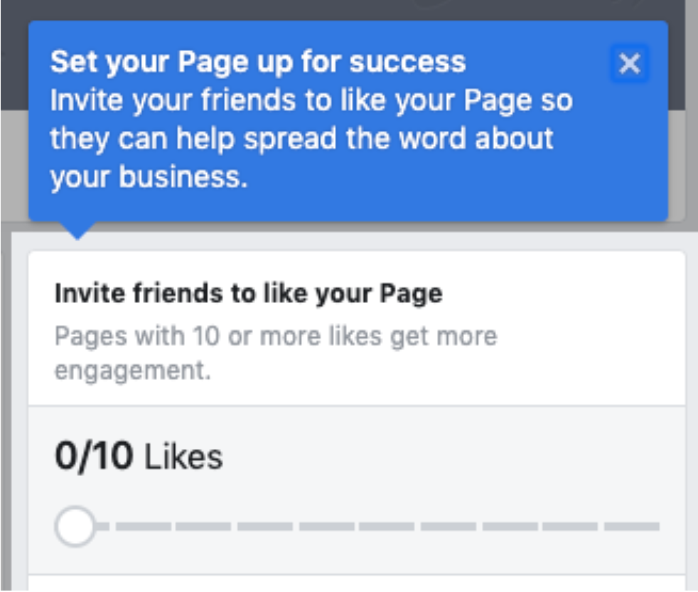 Example of how to invite friends to like your Facebook Business page