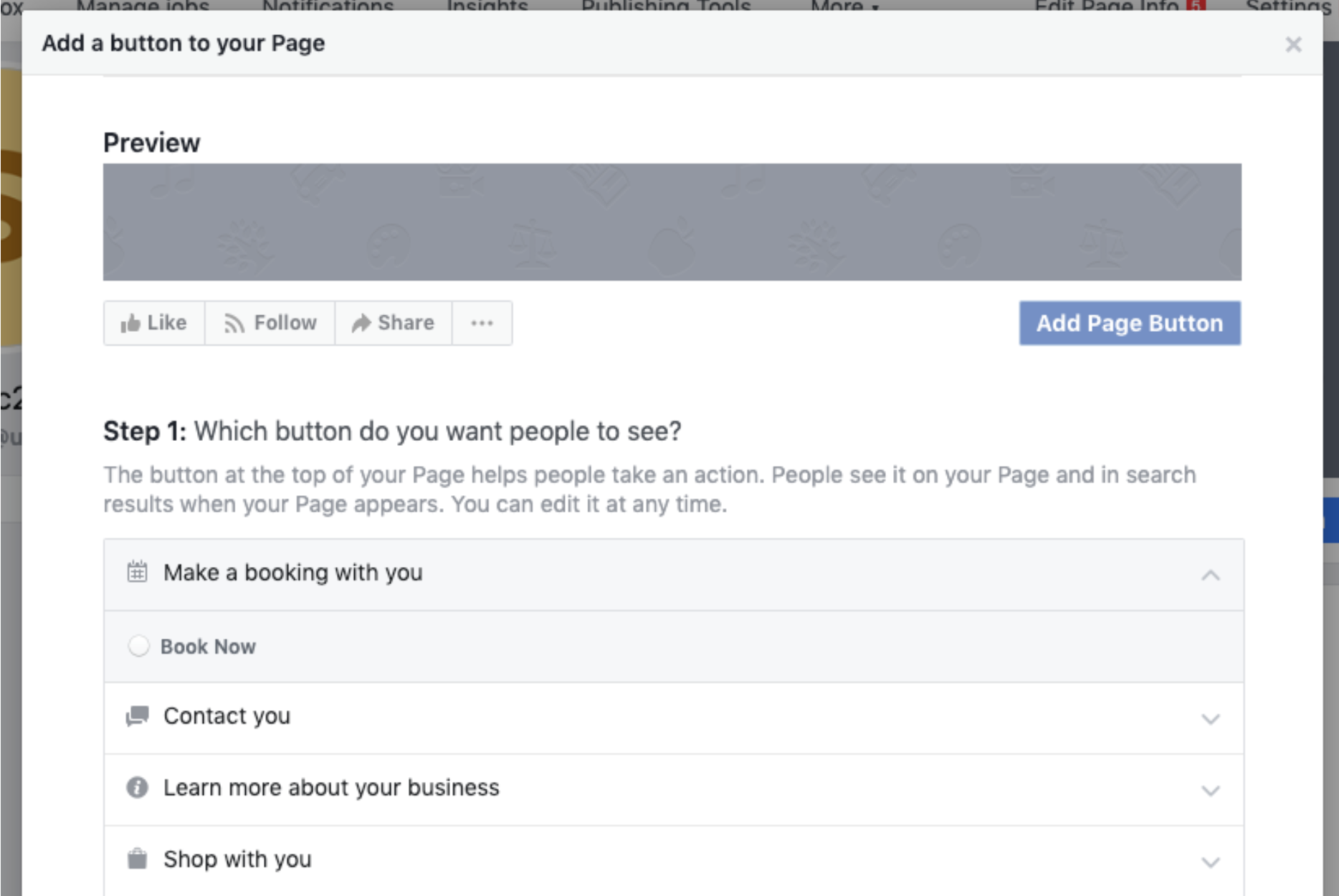 Example of adding a button to a business facebook page