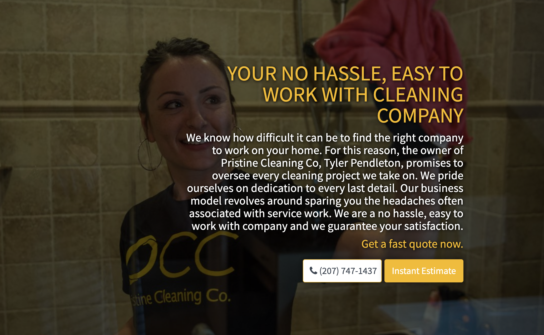 Image taken from Pristine Cleaning Co. website designed by Convert