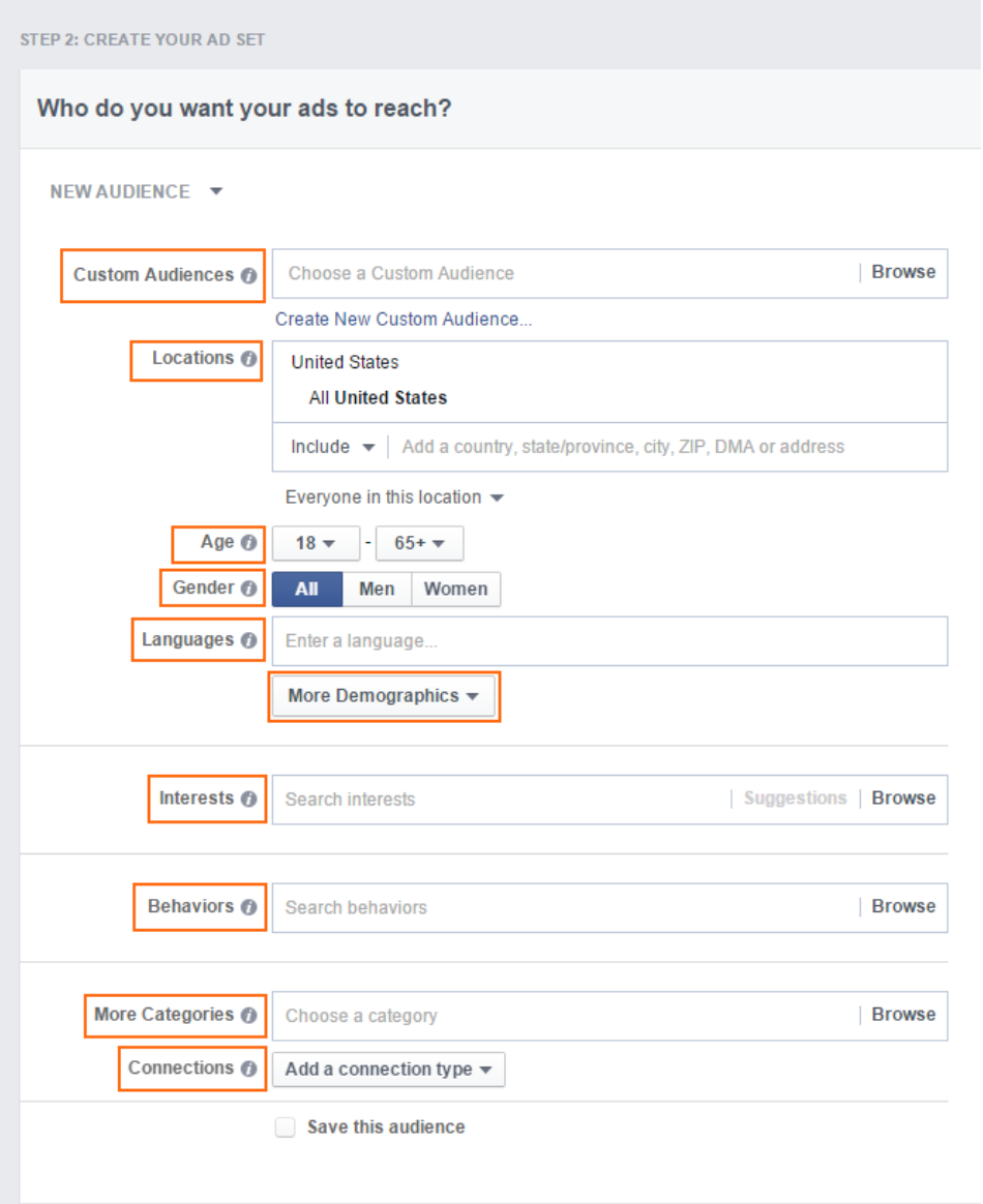 Screen shot of some of Facebook ad targeting options