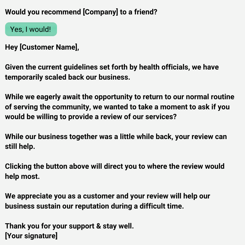 example of a review request message sent by NiceJob