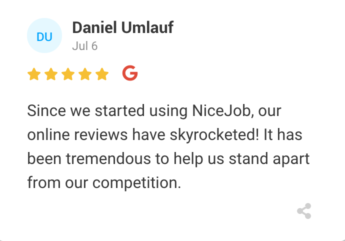screen shot of a 5-star review left for NiceJob