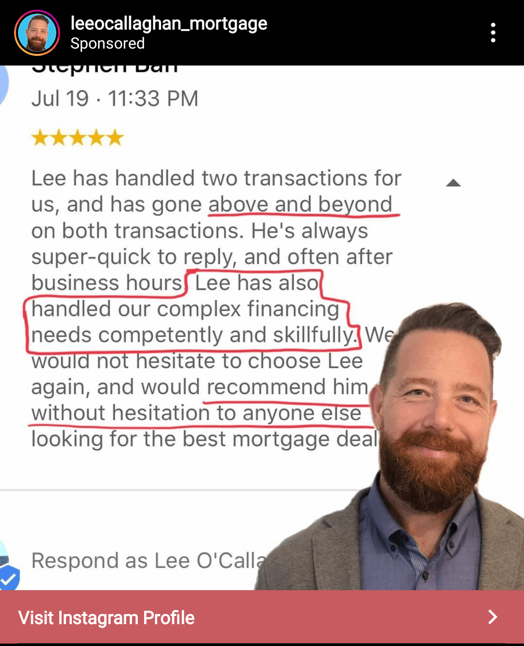 Iscreen shot of an nstagram ad that uses a review left for  Lee O'Callaghan Mortgage