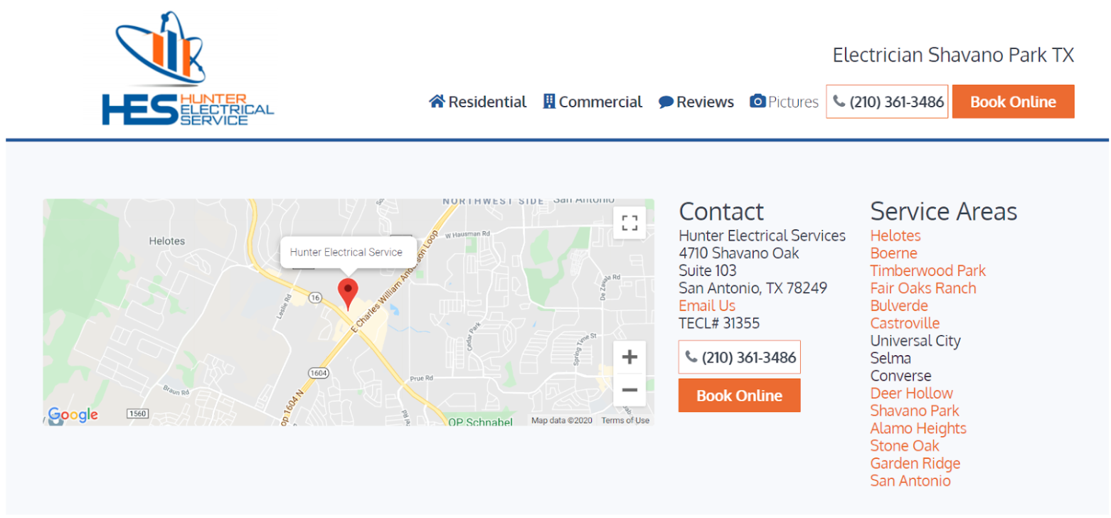 Screen shot from Hunter Electrical Service website showing CMS for multiple locations