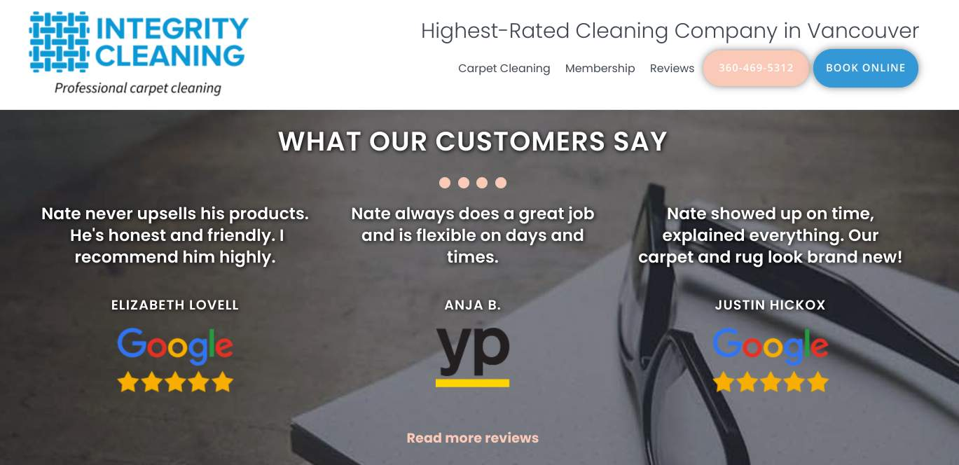 Screenshot of testimonials from Integrity Cleaning's homepage showing their reputation marketing.