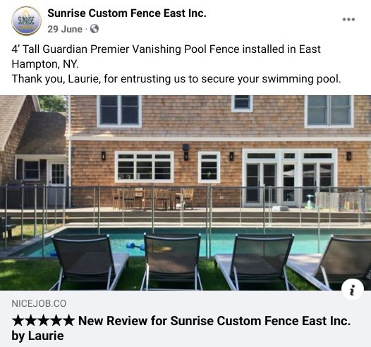 Facebook post from Sunrise Custom Fence of a customer review they shared as part of their reputation marketing.