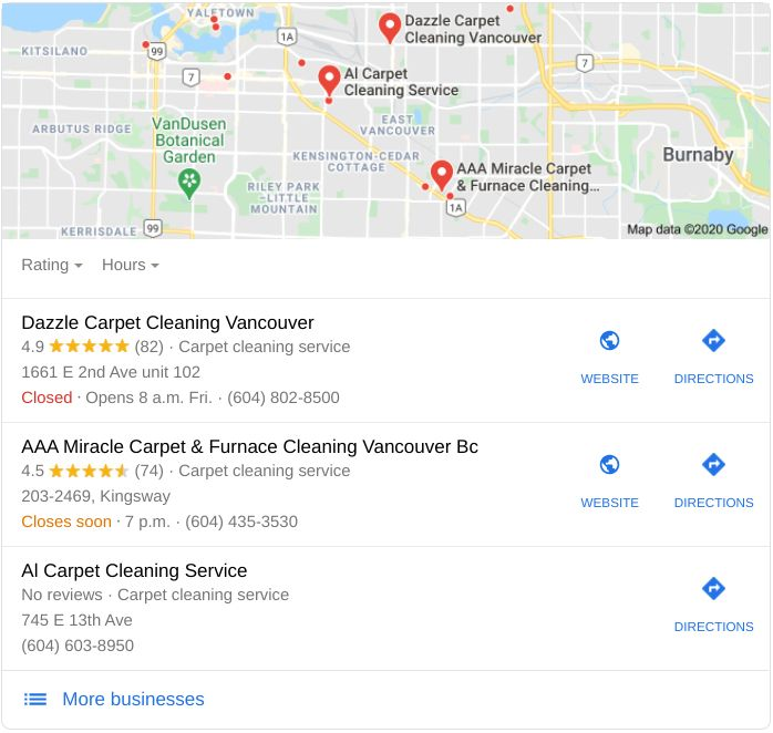 """Screenshot image of Google's """"Local Snack Pack"""" showing the benefits of a Google My Business profile and getting more reviews for a carpet cleaning company."""