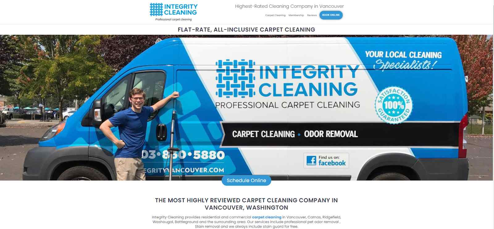 Homepage screenshot of Integrity Cleaning using their own photo on their website for their cleaning company.