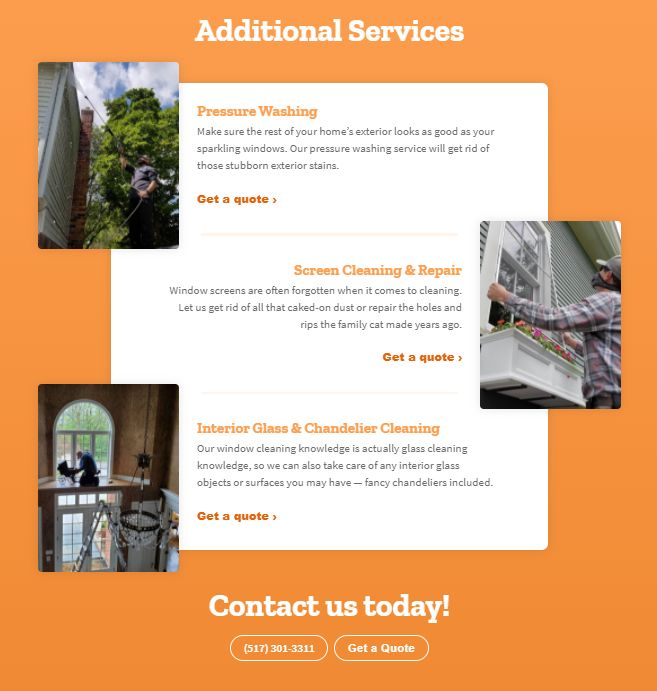 Screenshot of MANPower Unlimted webpage using their own photos for their window cleaning company.