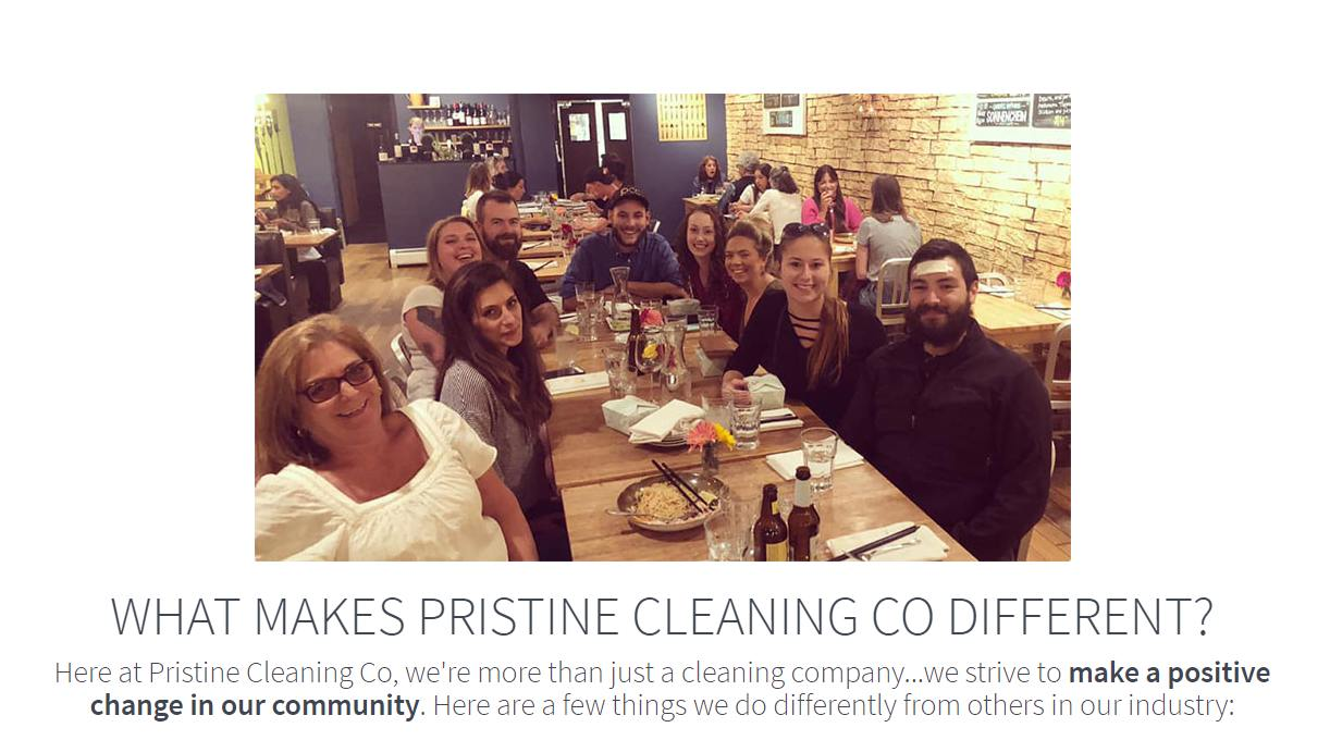Screenshot of Pristine Cleaning using their own team photo on their website for their cleaning company.