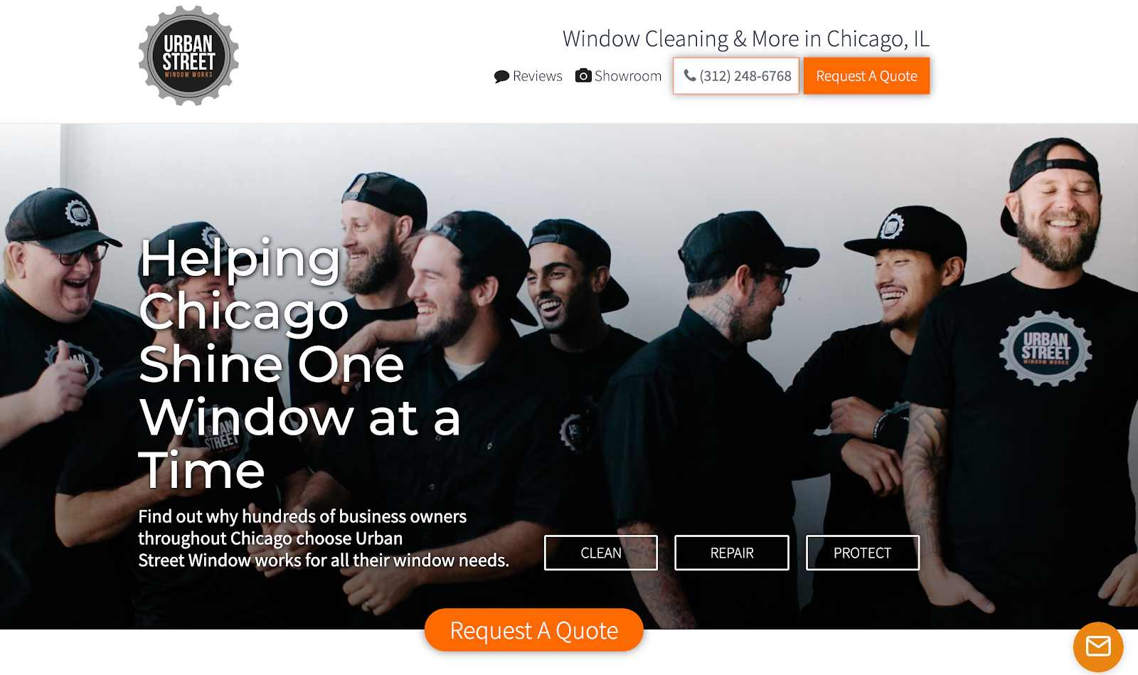 Screenshot of Urban Street Window Works using a professional team photo on their website for their cleaning company.