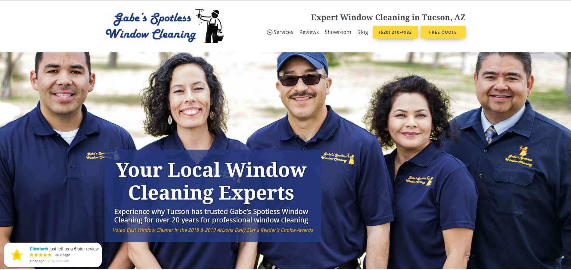 Screenshot of abe's Spotless Window Cleaning using a professional team photo on their website for their cleaning company.