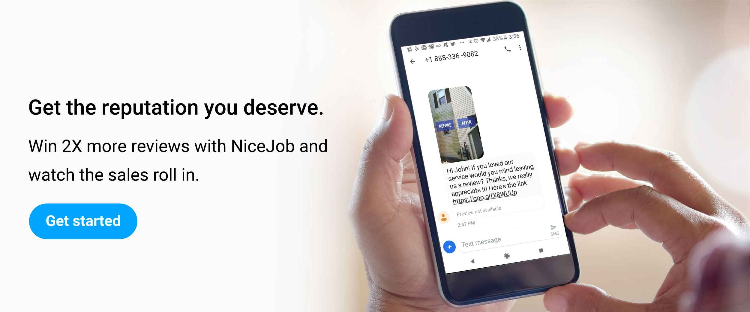 Banner promoting NiceJob's reputation marketing software to get more customer reviews.