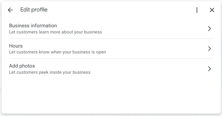 Screenshot of Edit Profile changes for Google My Business in Google Search.