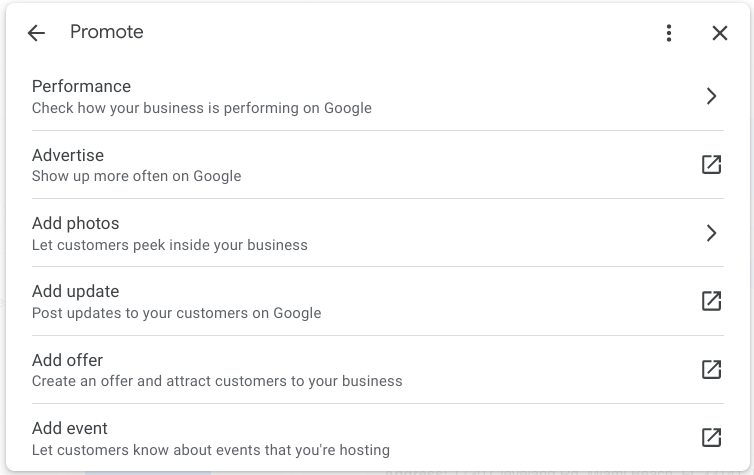 Screenshot of Promote changes for Google My Business in Google Search.
