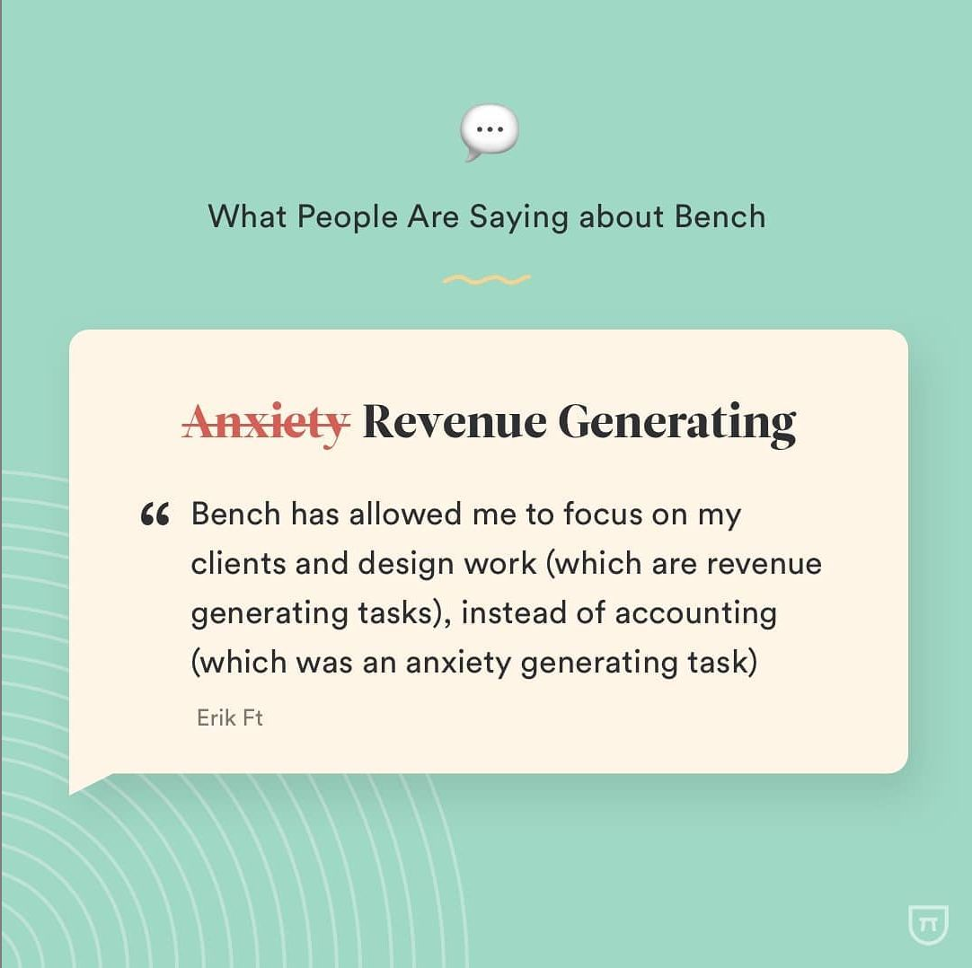 Screenshot of an example review on Instagram from Bench.