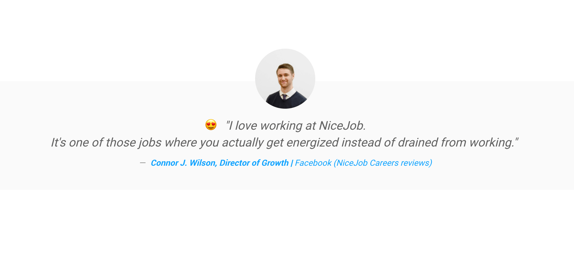 Screen shot of an employee's review of NiceJob