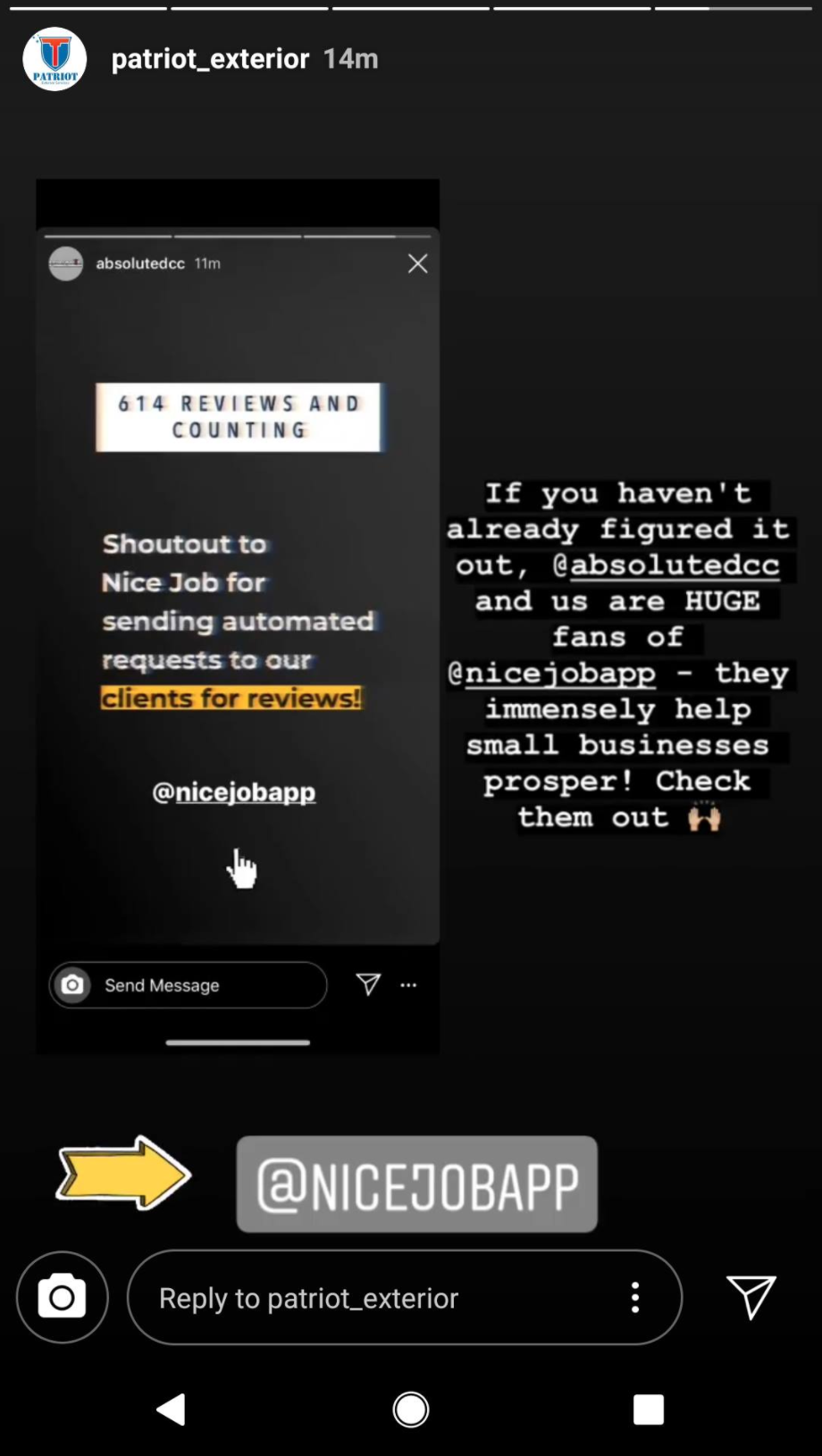 Screen shot of Instagram stories about NiceJob