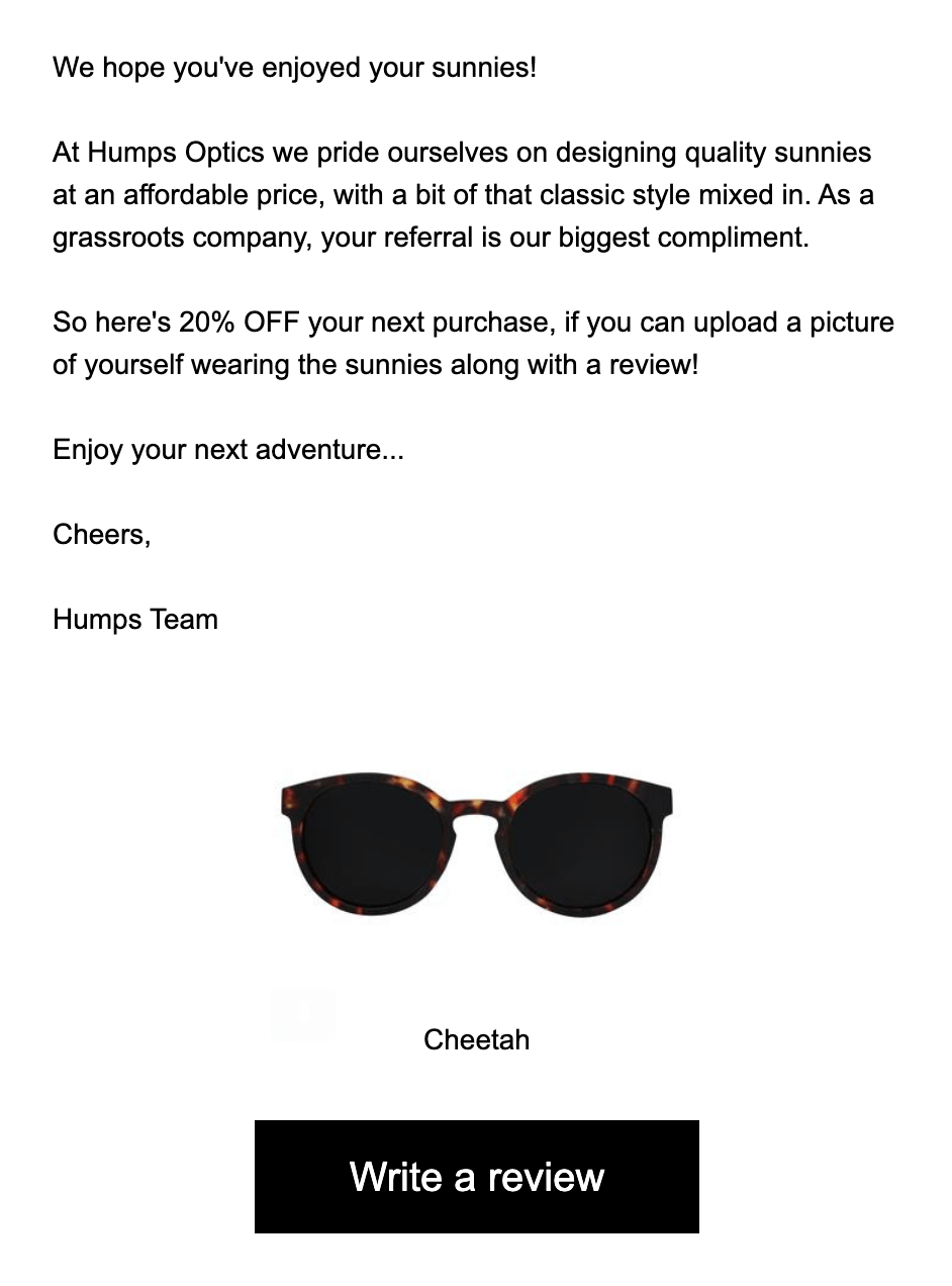 Screen Shot of an Email from Humps Optics