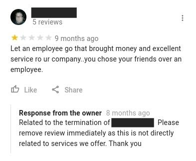 Example of a Google review with off-topic content.