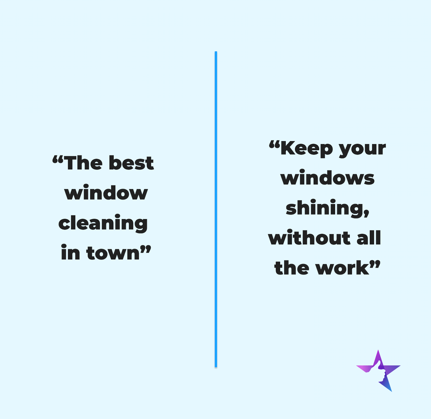 compare and contrast copy samples for a window cleaning website