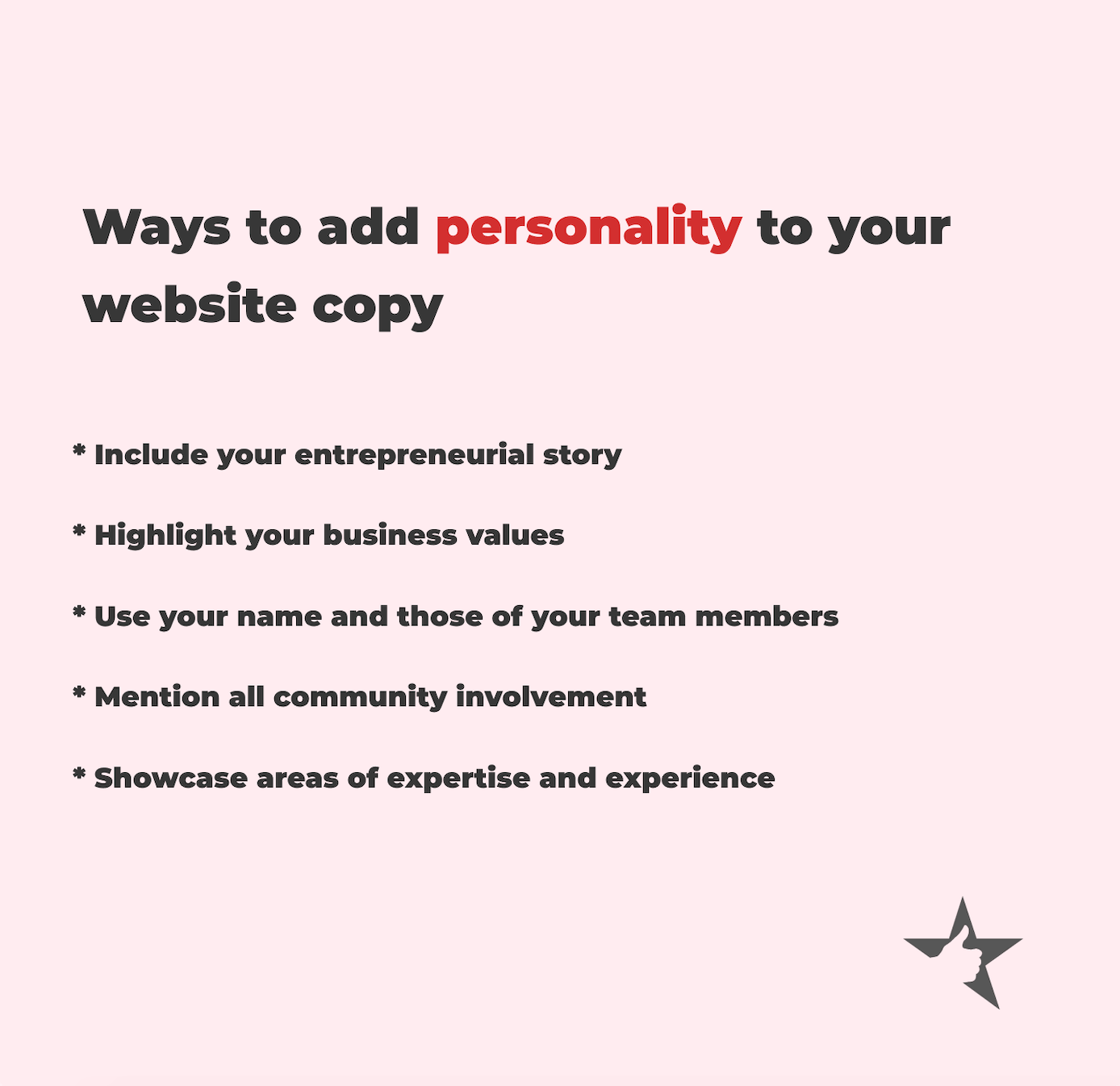 Graphic showing ways to add personality to website copy