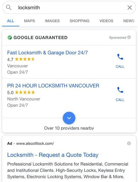 "Google Local Services Ads for ""locksmith"" on mobile in Vancouver."
