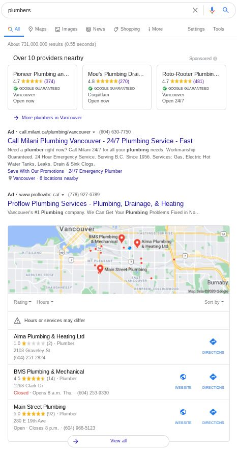 "Google Local Services Ads for ""plumbers"" on desktop in Vancouver."