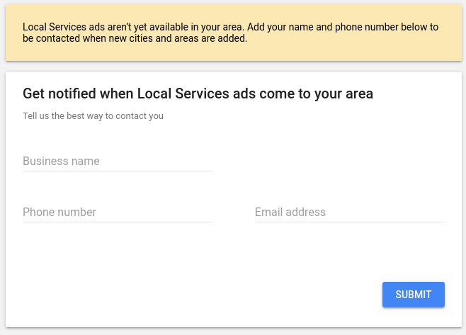 Screenshot of ineligibility and a notifcation request for Google Local Services Ads.