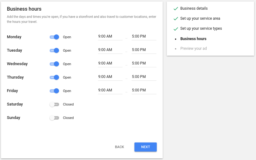 Setting up your hours of operation for Google Local Services Ads.