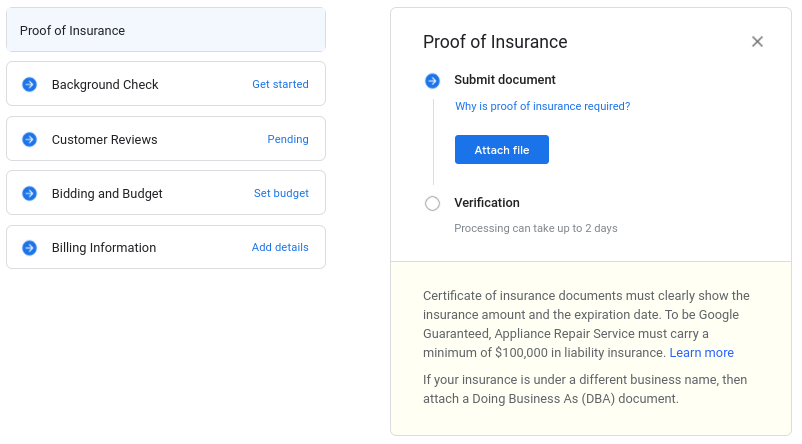 Submitting proof of insurance for Google Local Services Ads.