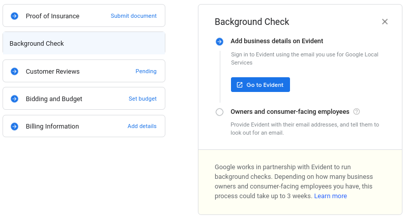 Google Local Services Ads background check from Evident.
