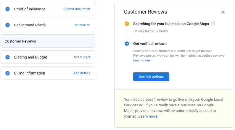 Setting up customer reviews and syncing Google My Business for Google Local Services Ads.