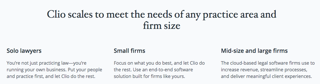Types of clients for the legal software.