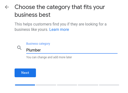 How to set up Google My Business- select business category.