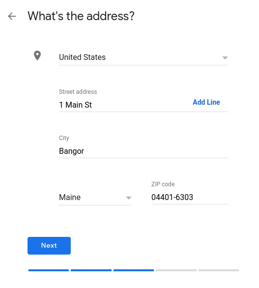 How to set up Google My Business- select business location and address.