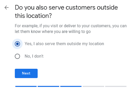 How to set up Google My Business- answer if you serve customers in other locations.dress.