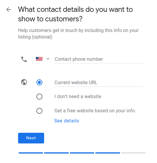How to set up Google My Business- set your contact info.