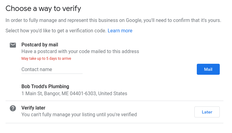 How to set up Google My Business- verify your business.